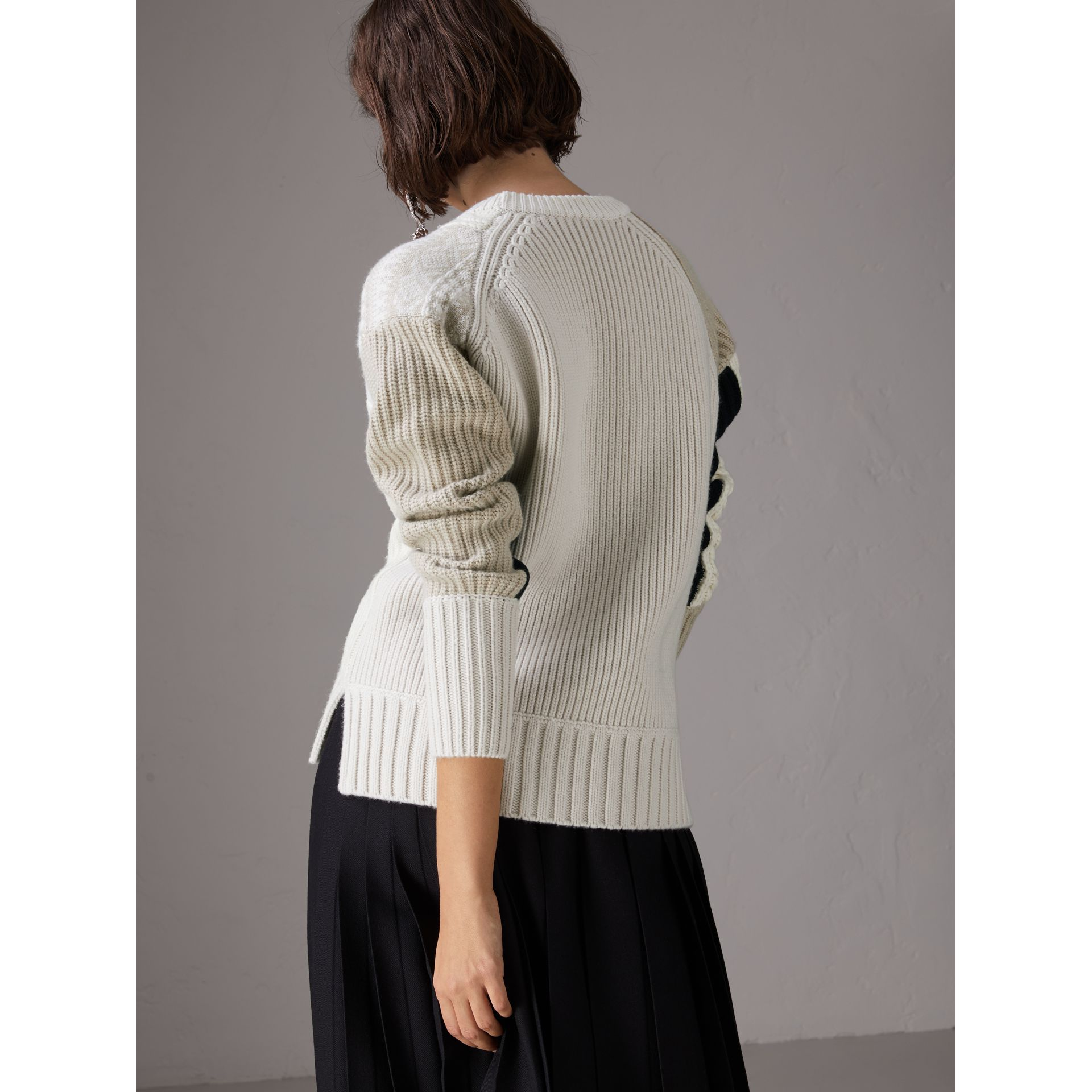 Colour Block Fair Isle and Cable Knit Wool Cashmere Sweater in Ivory - Women | Burberry - gallery image 2