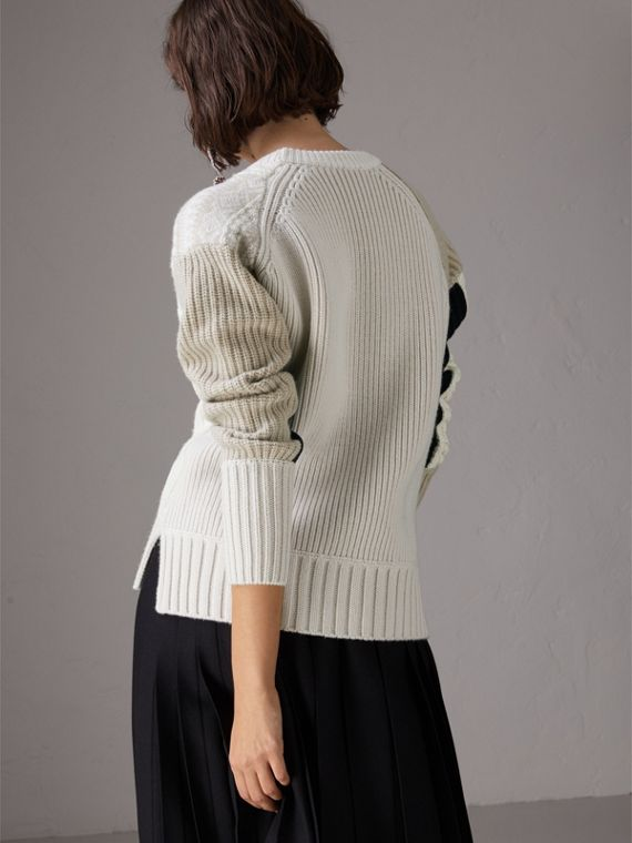 Colour Block Fair Isle and Cable Knit Wool Cashmere Sweater in Ivory - Women | Burberry Australia - cell image 2