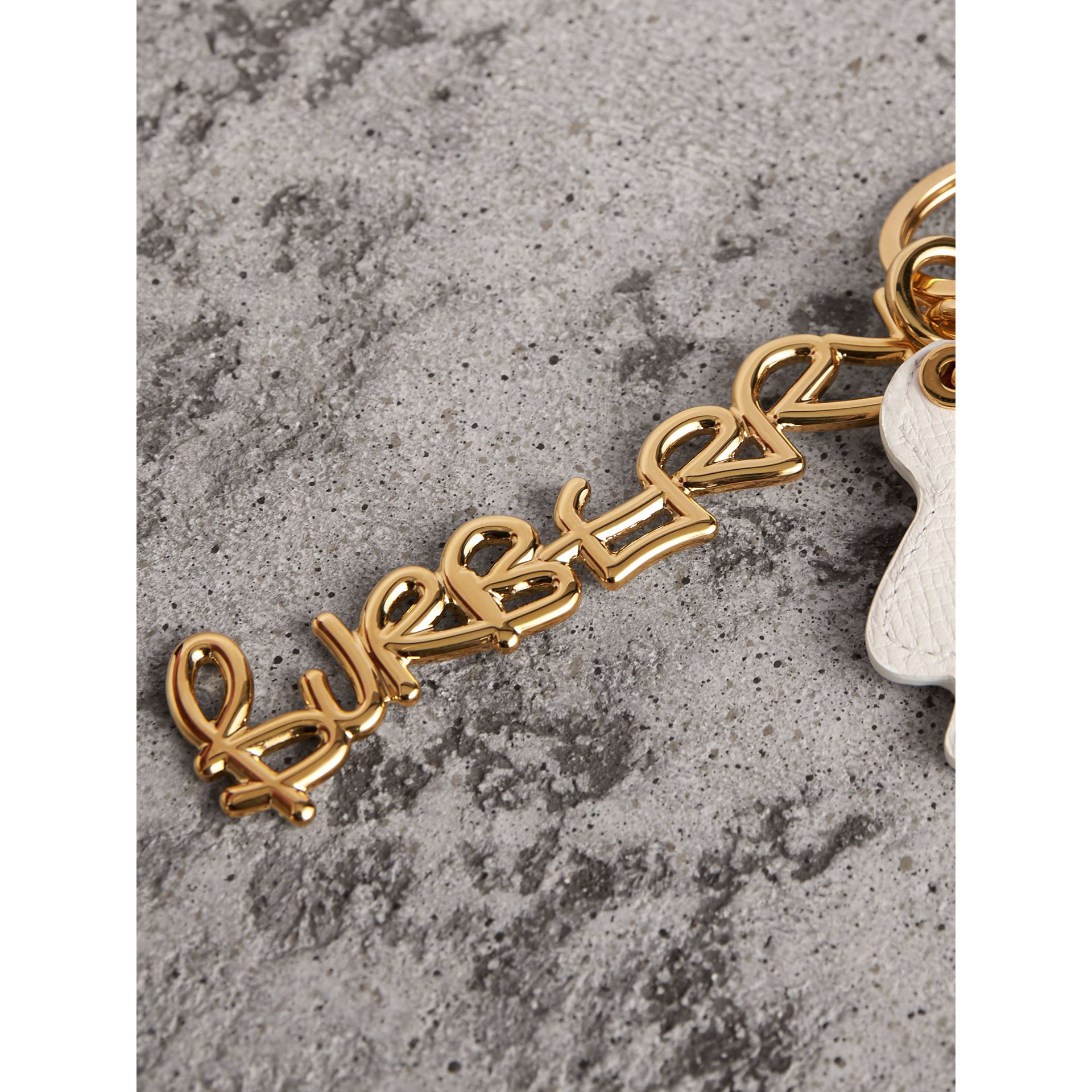Doodle Motif Leather Key Charm in Light Gold - Women | Burberry - gallery image 1