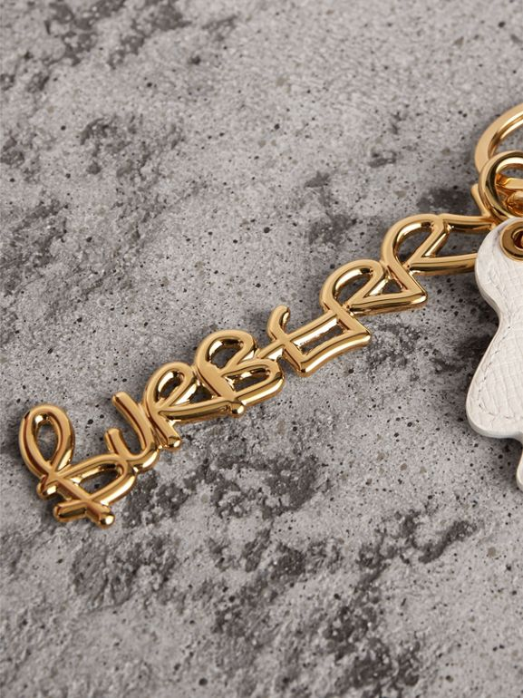 Doodle Motif Leather Key Charm in Light Gold | Burberry - cell image 1