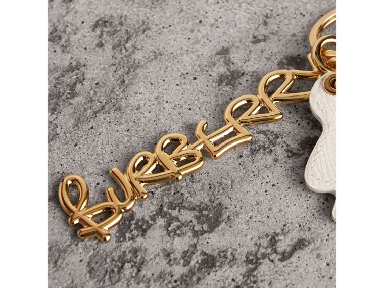 Doodle Motif Leather Key Charm in Light Gold - Women | Burberry - cell image 1