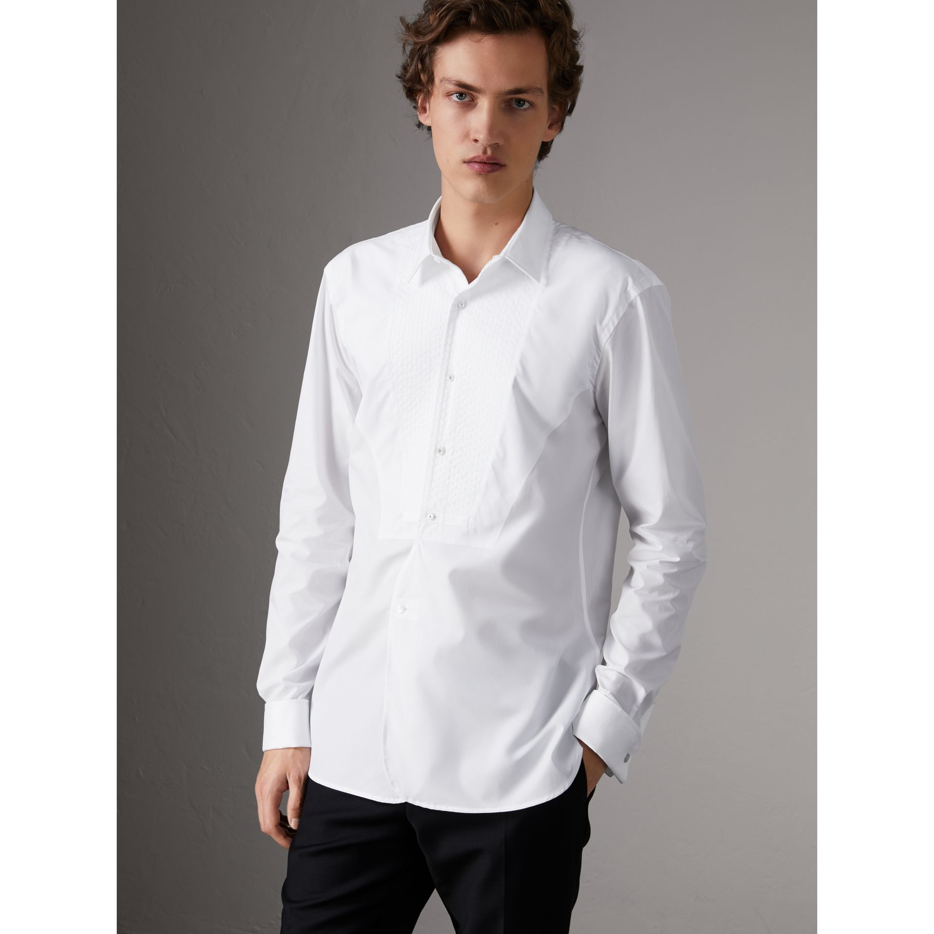 Modern Fit Pick-stitch Detail Bib Cotton Poplin Dress Shirt in White - Men | Burberry - gallery image 4