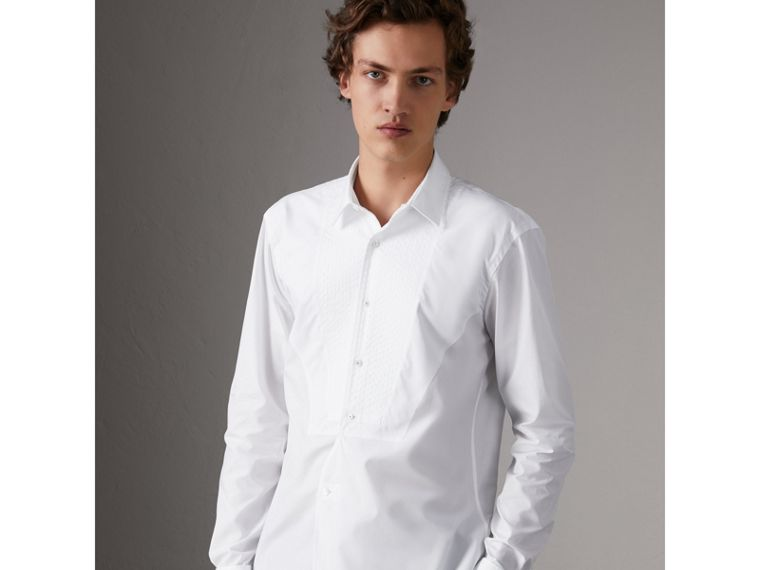 Modern Fit Pick-stitch Detail Bib Cotton Poplin Dress Shirt in White - Men | Burberry Australia - cell image 4
