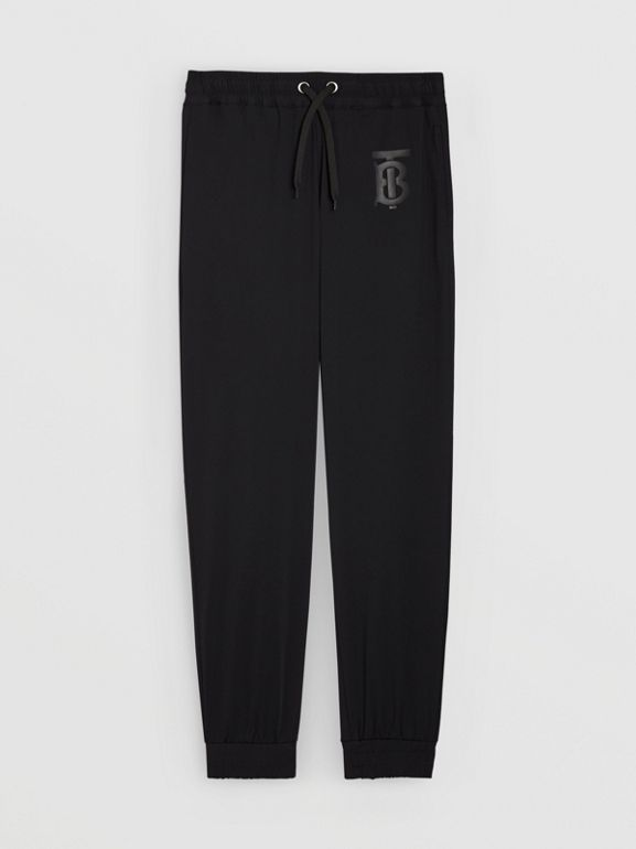 Monogram Motif Jersey Trackpants in Black - Men | Burberry United Kingdom - cell image 1