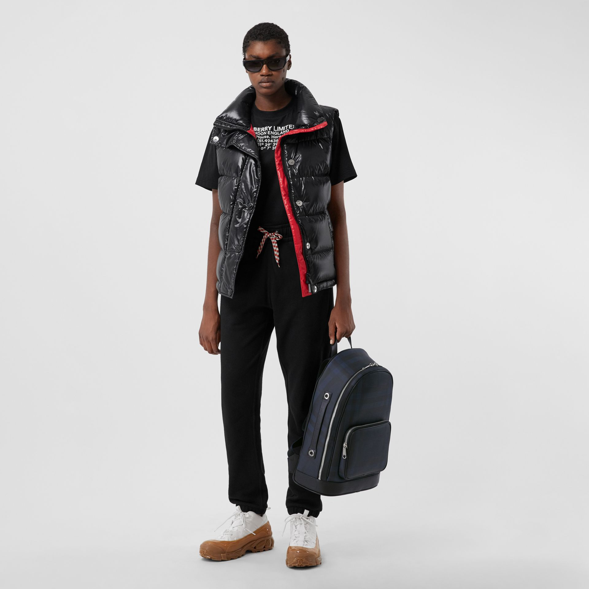 London Check and Leather Backpack in Navy | Burberry United Kingdom - gallery image 2
