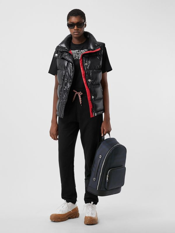 London Check and Leather Backpack in Navy | Burberry - cell image 2