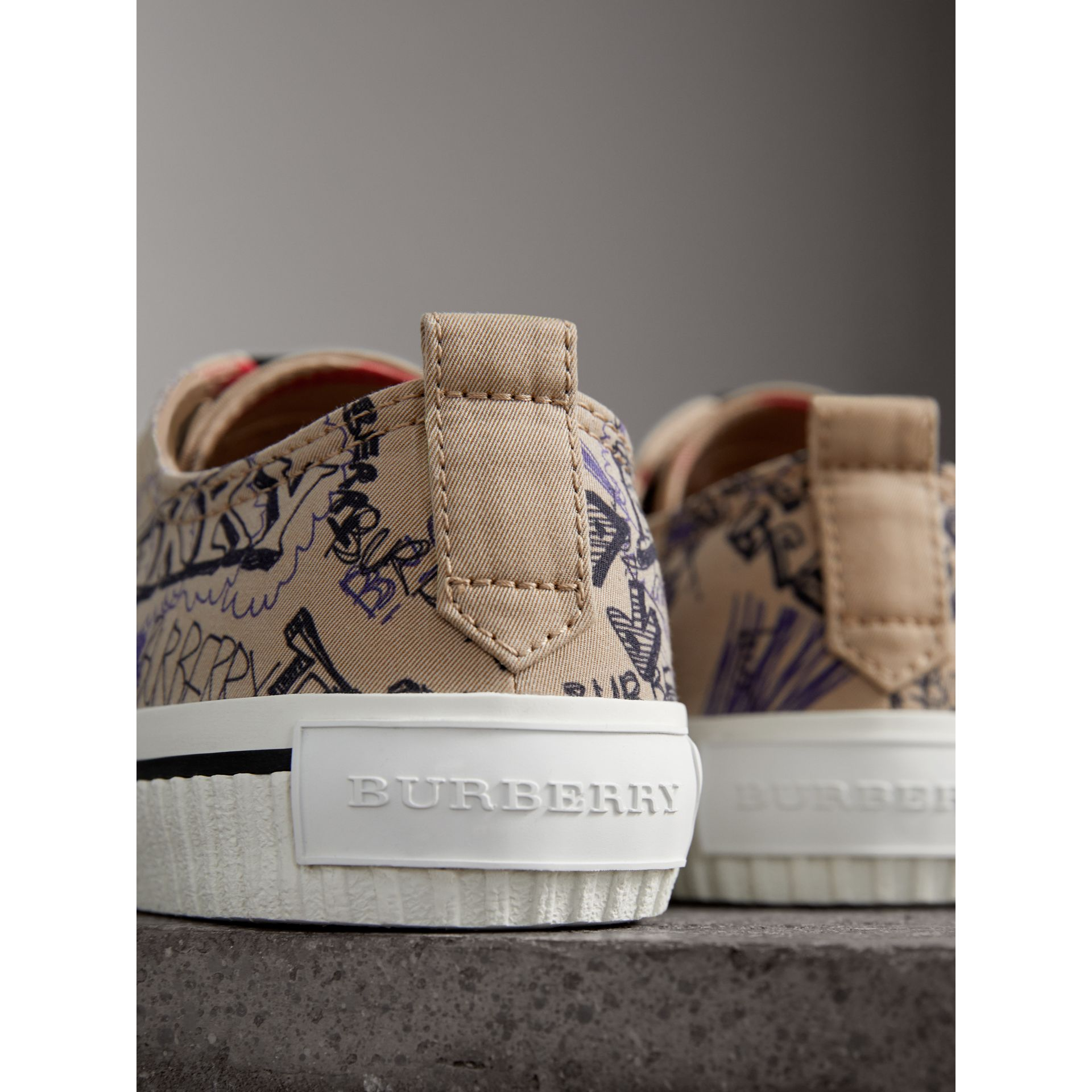 Doodle Print Cotton Gabardine Sneakers in Honey - Men | Burberry - gallery image 1