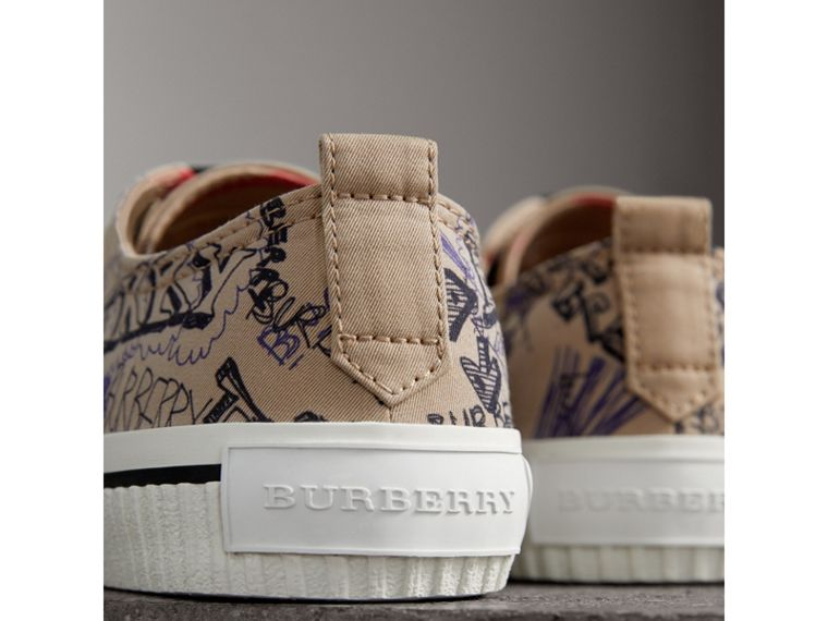 Doodle Print Cotton Gabardine Trainers in Honey - Men | Burberry - cell image 1