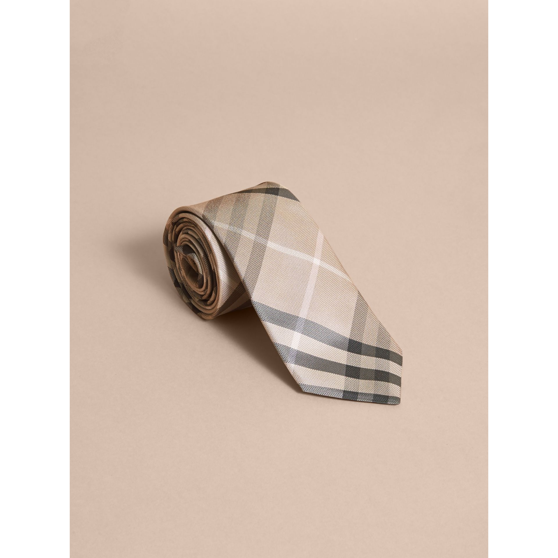 Modern Cut Check Silk Tie in Stone - gallery image 1