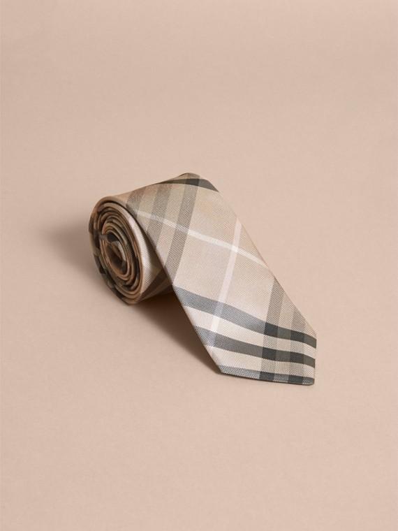 Modern Cut Check Silk Tie in Stone