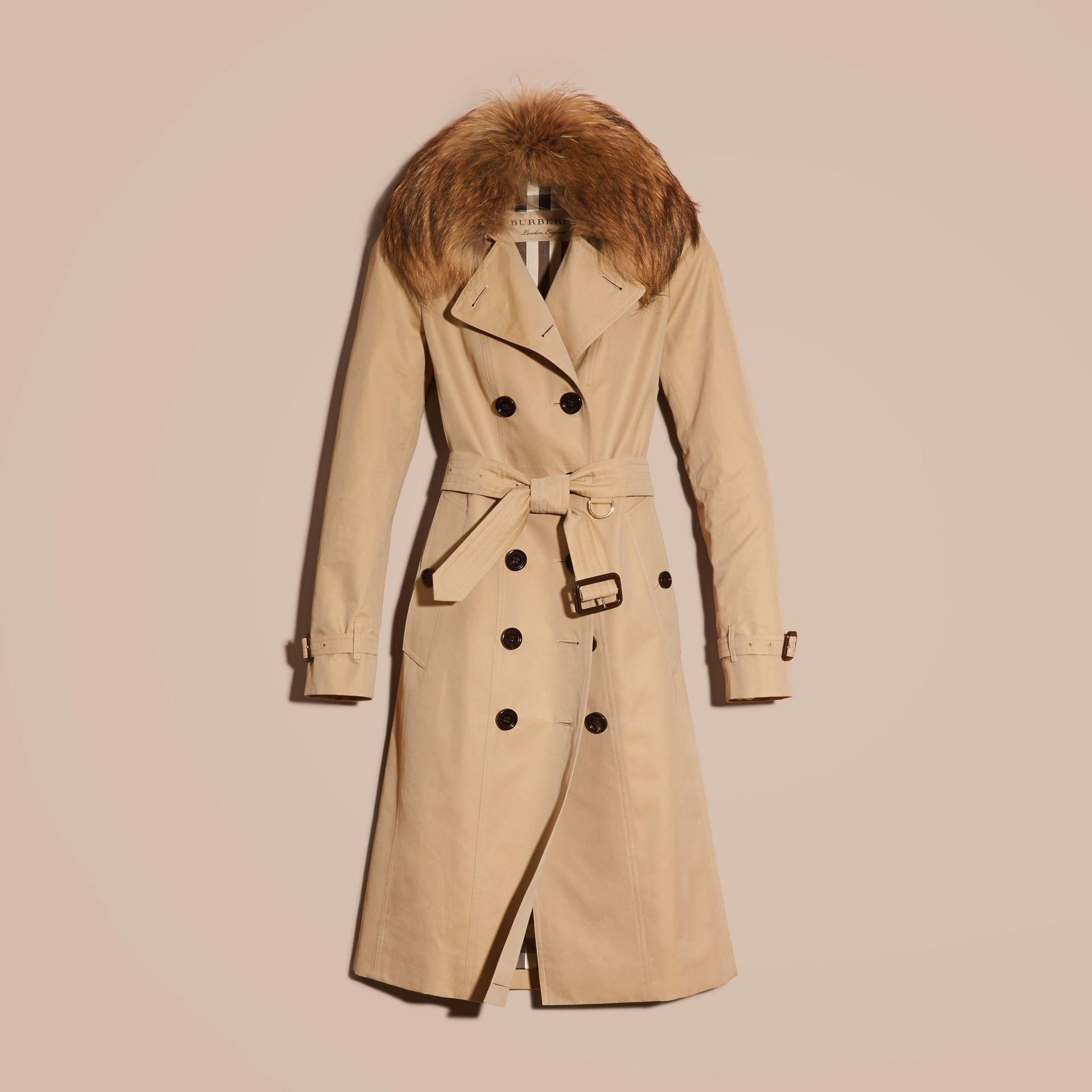 Honey Cotton Gabardine Trench Coat with Detachable Raccoon Collar - gallery image 4