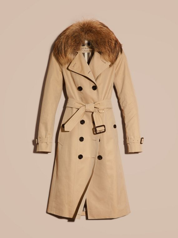 Honey Cotton Gabardine Trench Coat with Detachable Raccoon Collar - cell image 3