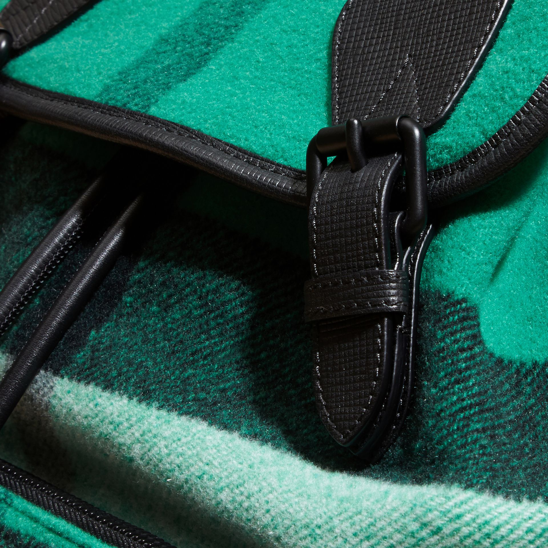 Emerald Wool Blend Woven Check Rucksack - gallery image 2
