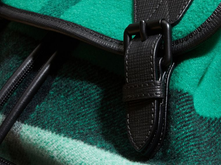 Emerald The Large Rucksack in Check Wool Blend and Leather Emerald - cell image 1