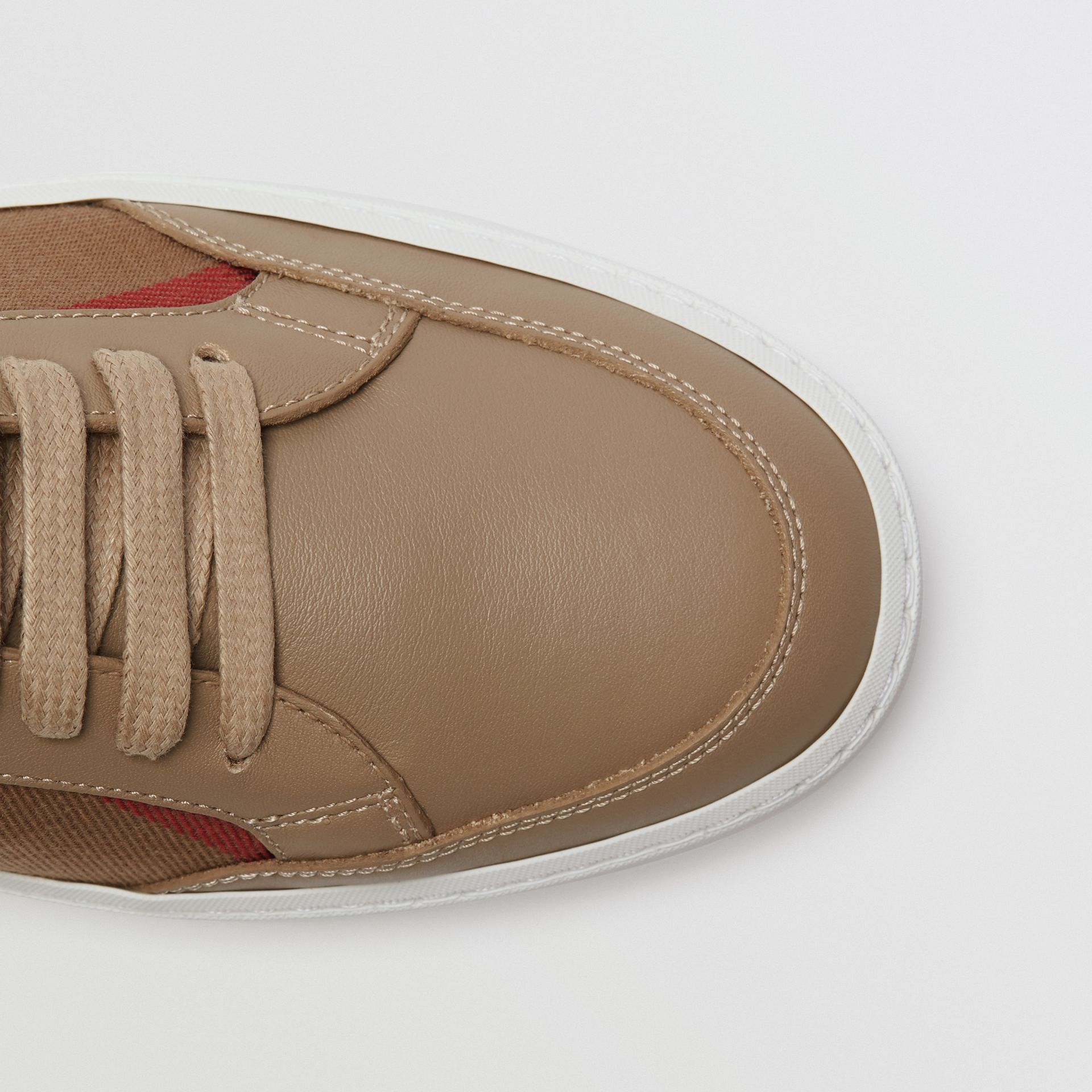 Check Detail Leather Sneakers in House Check/ Nude - Women | Burberry Hong Kong S.A.R - gallery image 1