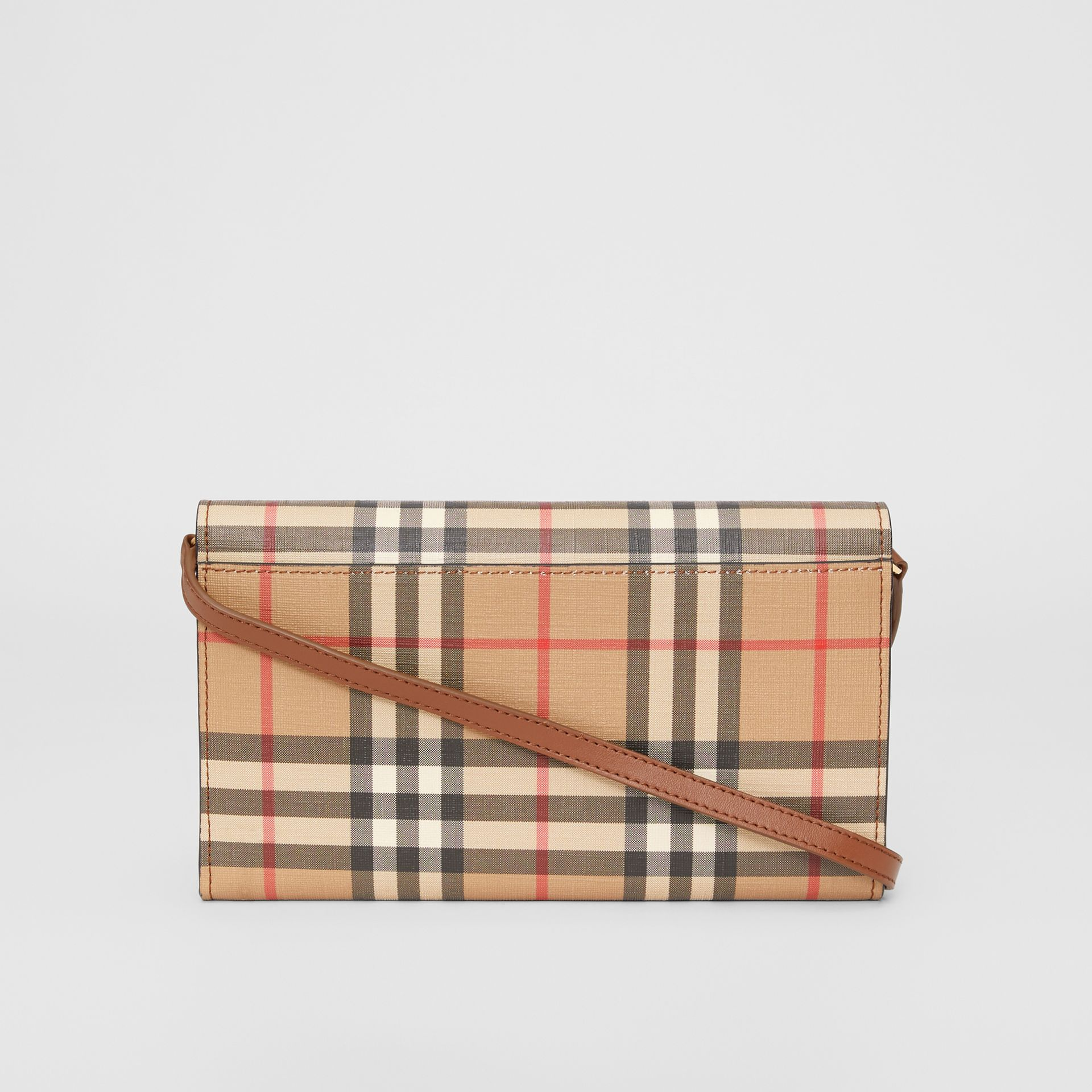 Vintage Check E-canvas Wallet with Detachable Strap in Malt Brown - Women | Burberry - gallery image 7