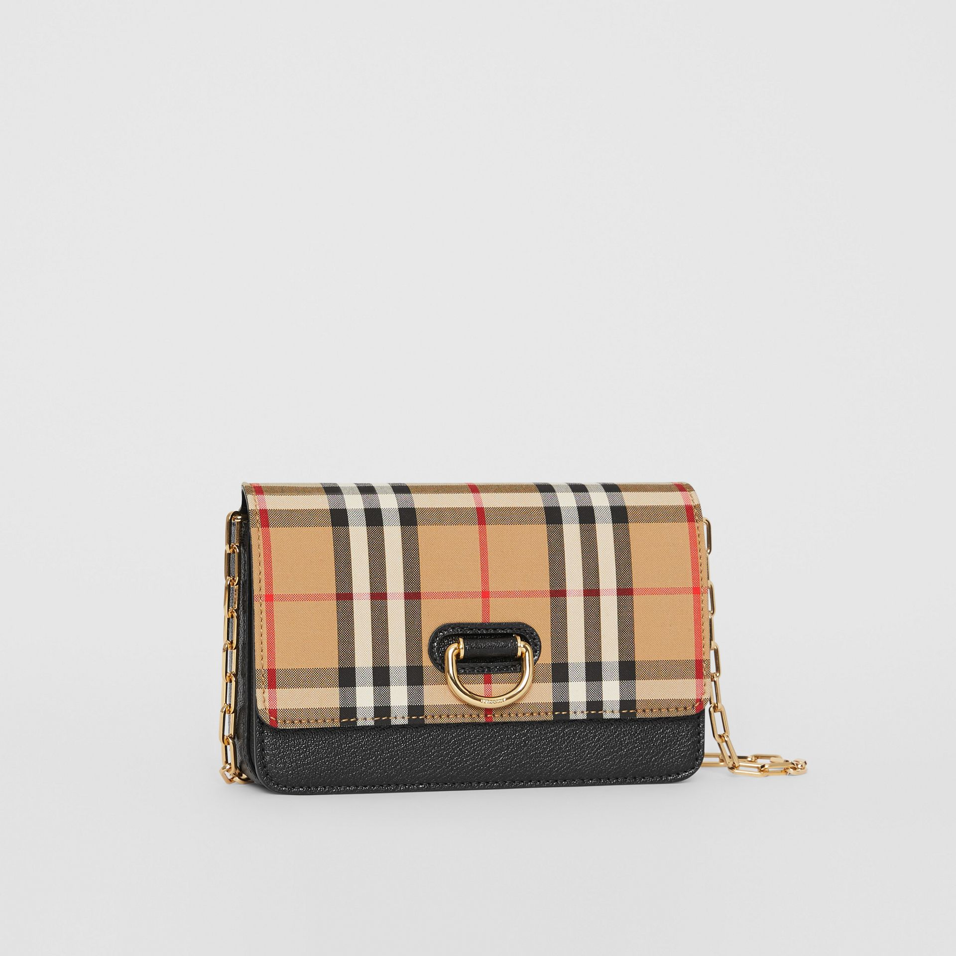 The Mini Vintage Check and Leather D-ring Bag in Black - Women | Burberry United States - gallery image 6