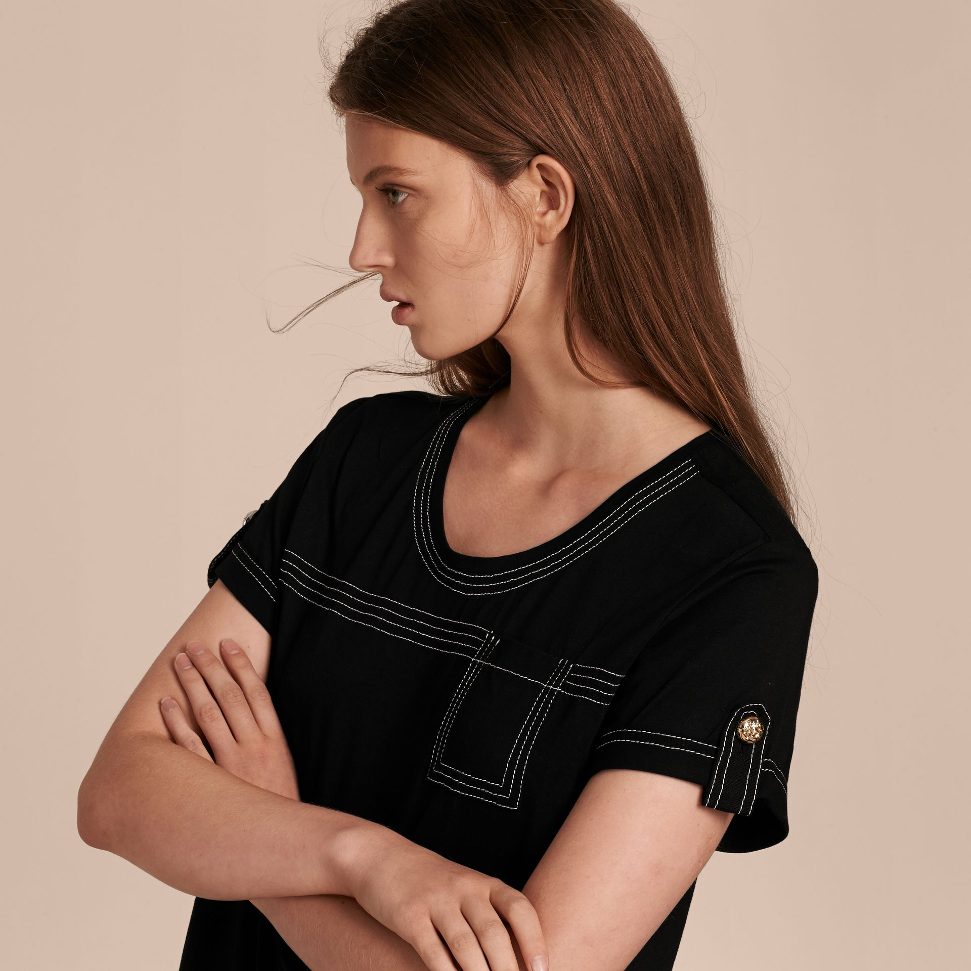 Black Topstitch Detail Cotton T-shirt Black - gallery image 5