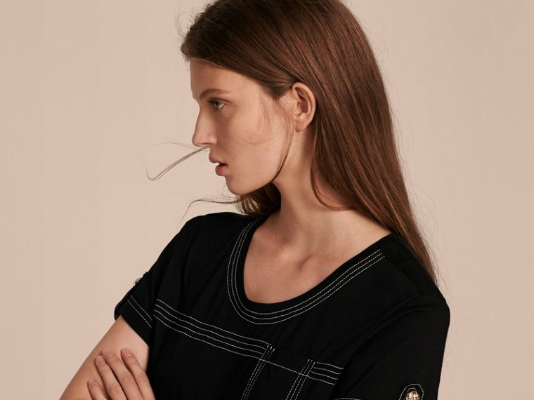 Black Topstitch Detail Cotton T-shirt Black - cell image 4