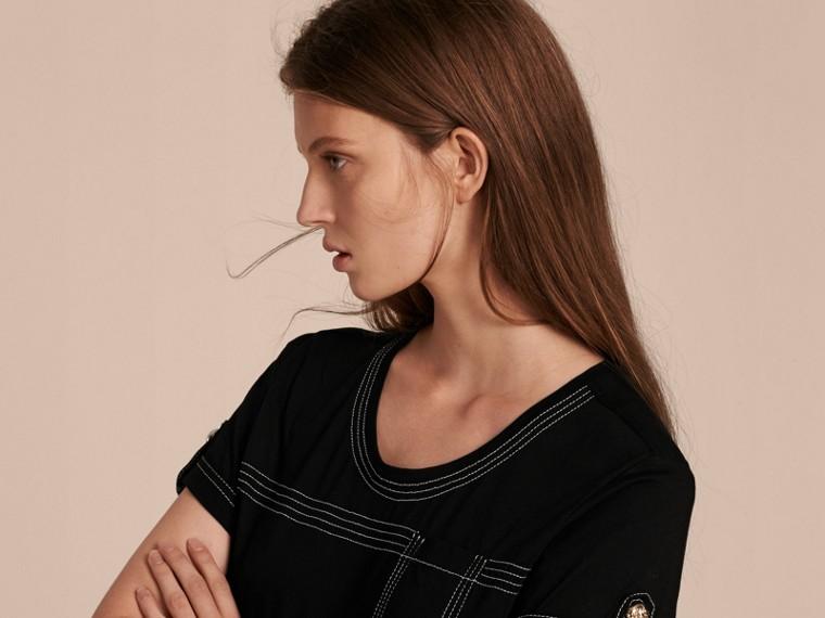 Nero T-shirt in cotone con impunture Nero - cell image 4