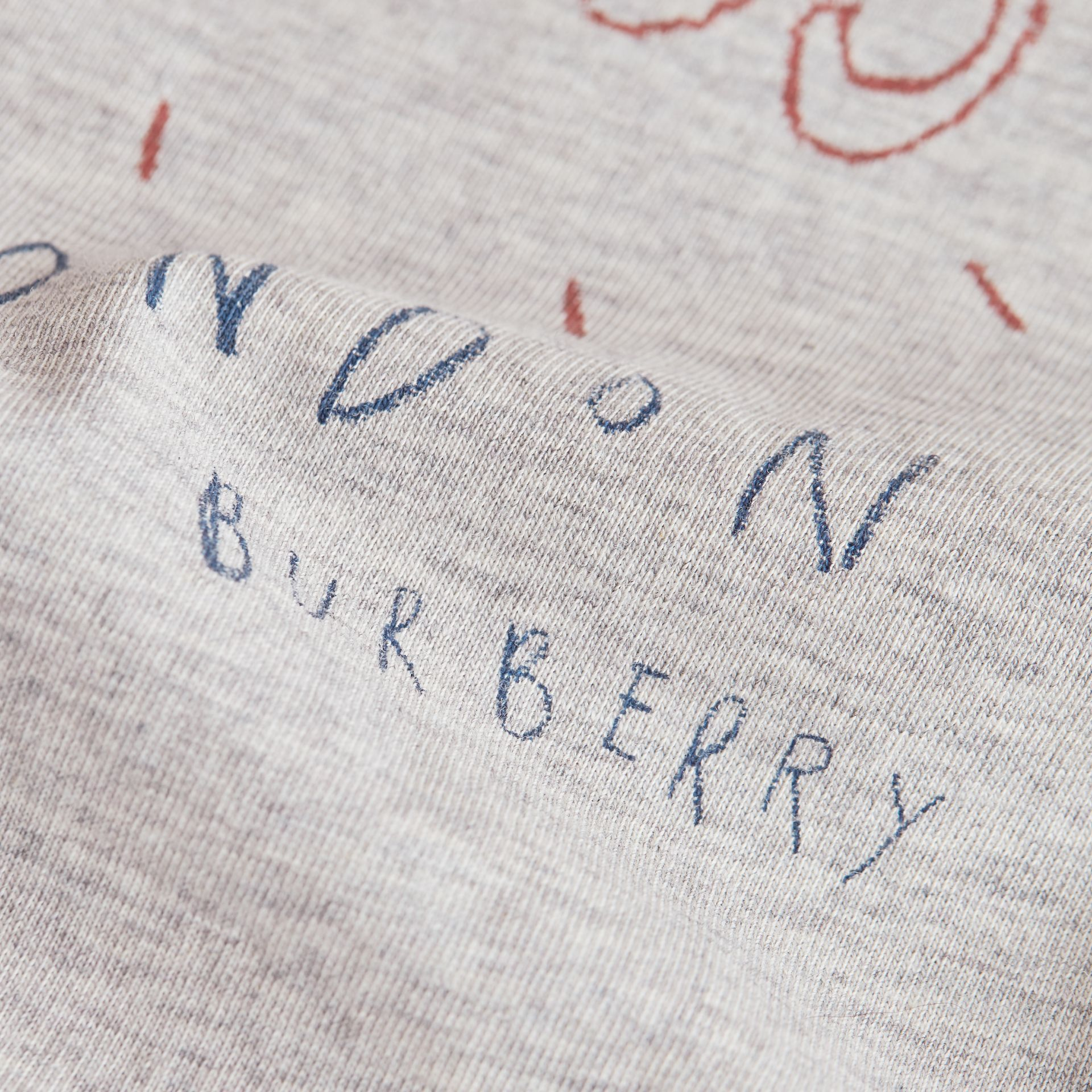 Long-sleeve London Icons Print Cotton T-shirt in Bright Navy Blue - Boy | Burberry - gallery image 1