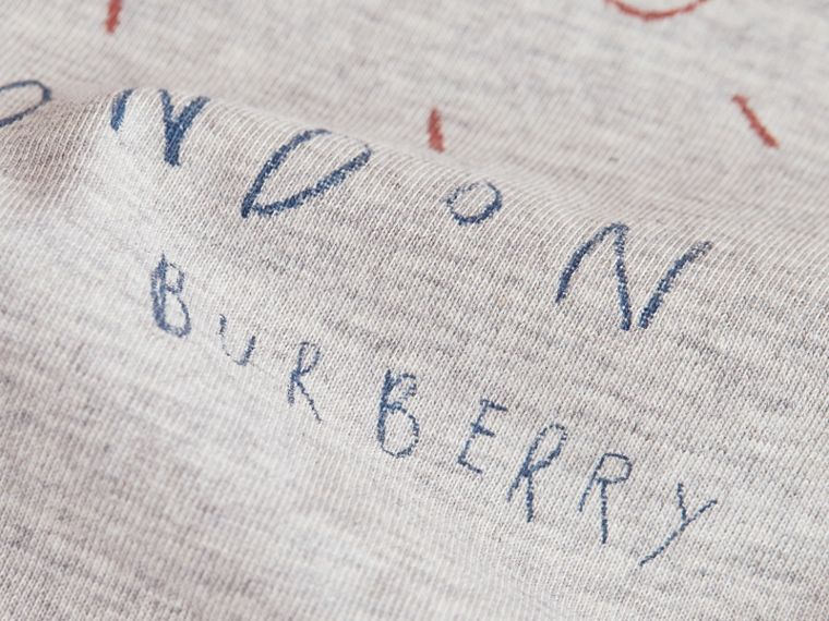 Long-sleeve London Icons Print Cotton T-shirt in Bright Navy Blue - Boy | Burberry - cell image 1