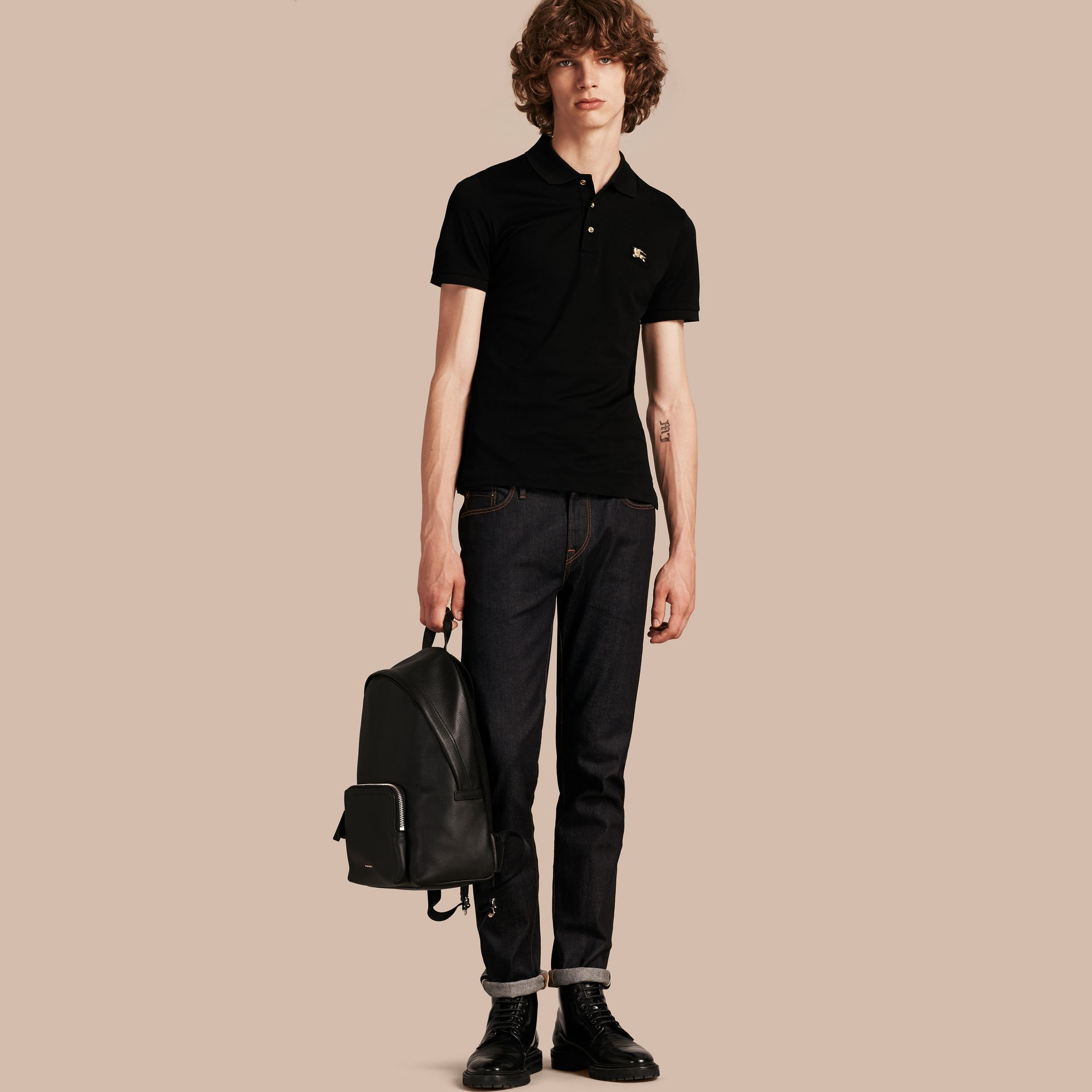 Black Fitted Mercerised Cotton-Piqué Polo Shirt Black - gallery image 6