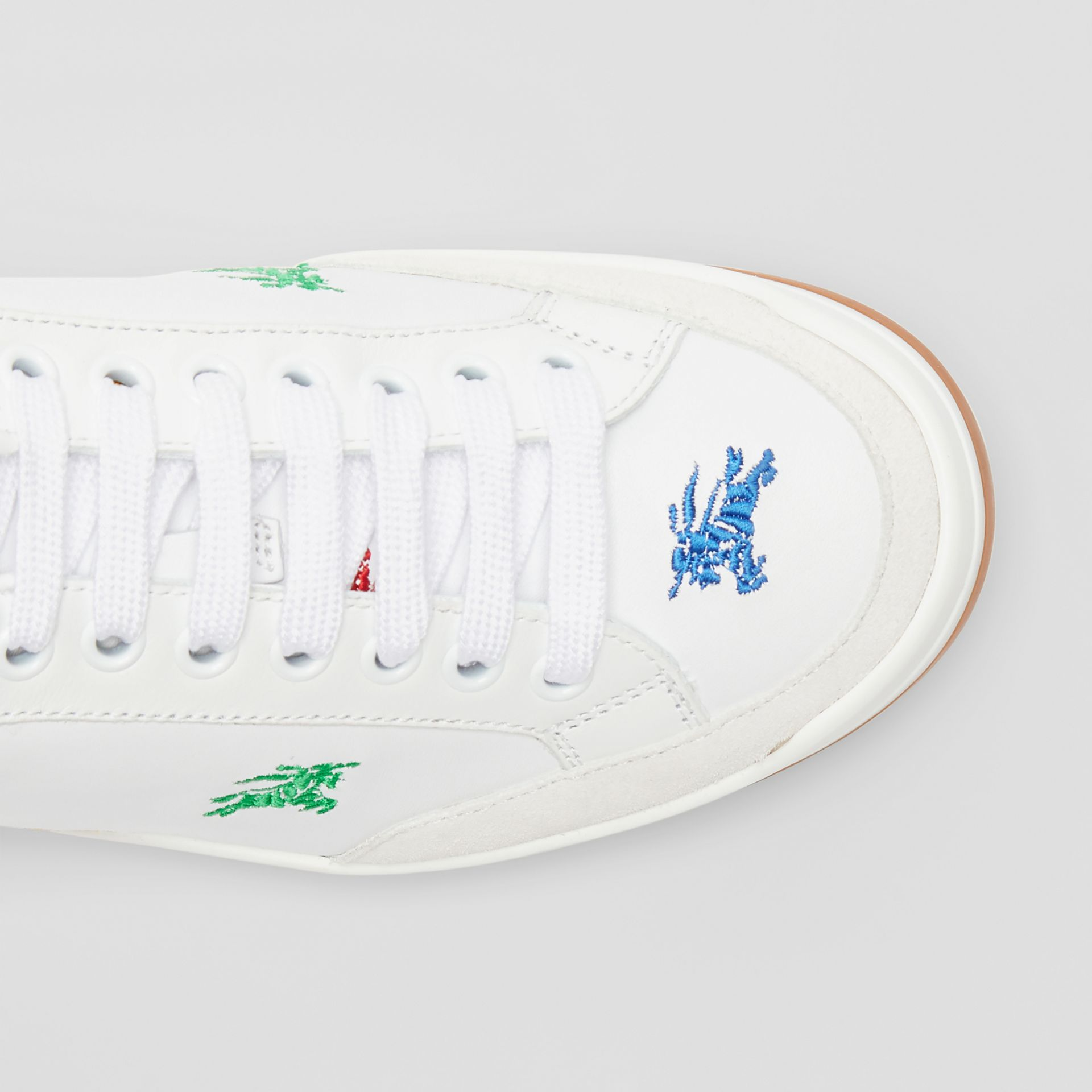 Equestrian Knight Embroidered Leather Sneakers in Optic White/multicolour - Women | Burberry - gallery image 1