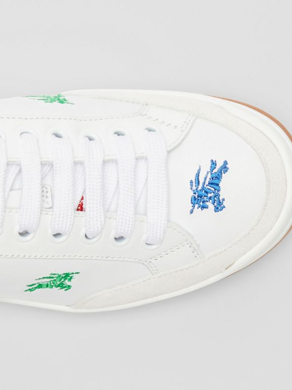 Equestrian Knight Embroidered Leather Sneakers in Optic White/multicolour - Women | Burberry - cell image 1