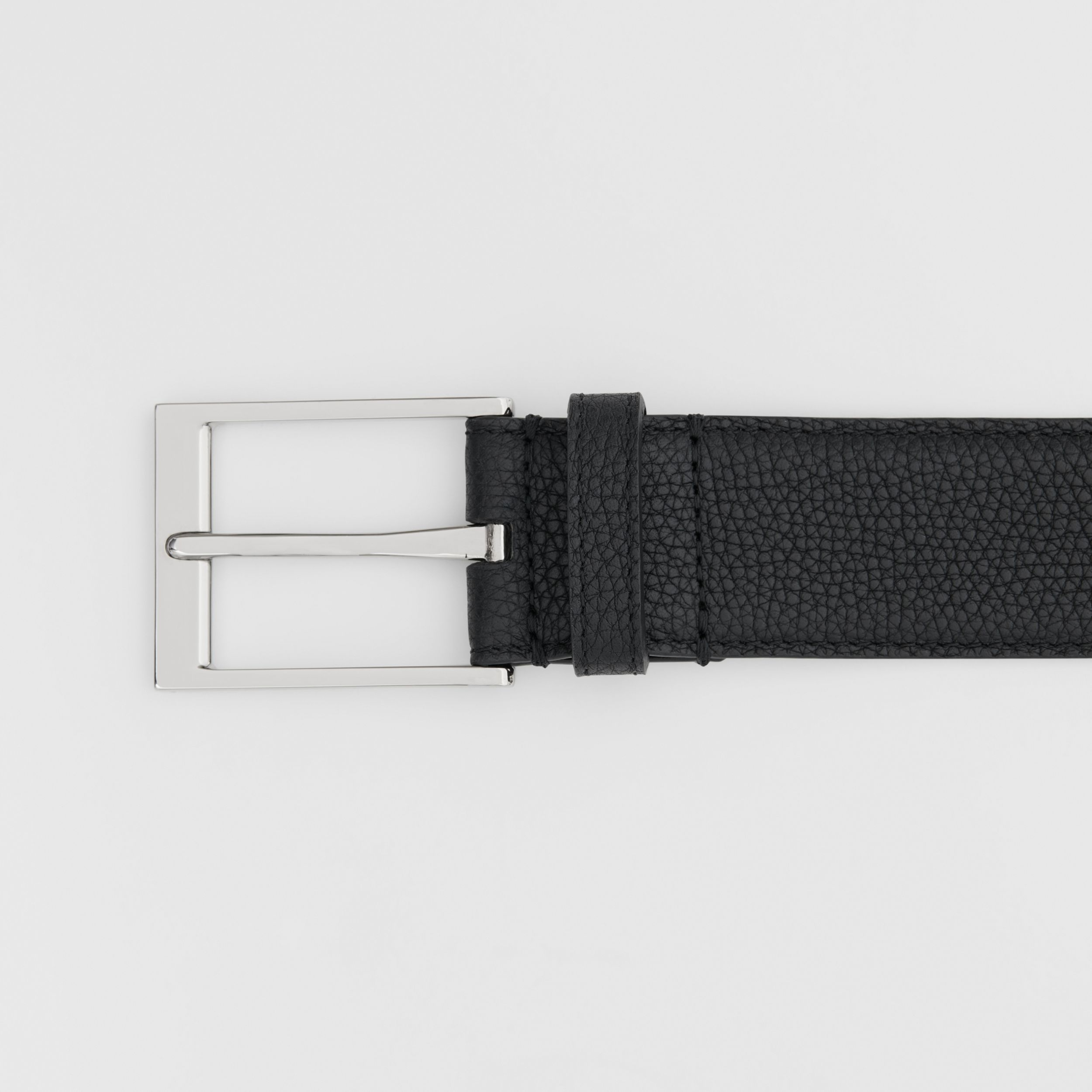 Grainy Leather Belt in Black - Men | Burberry - 2