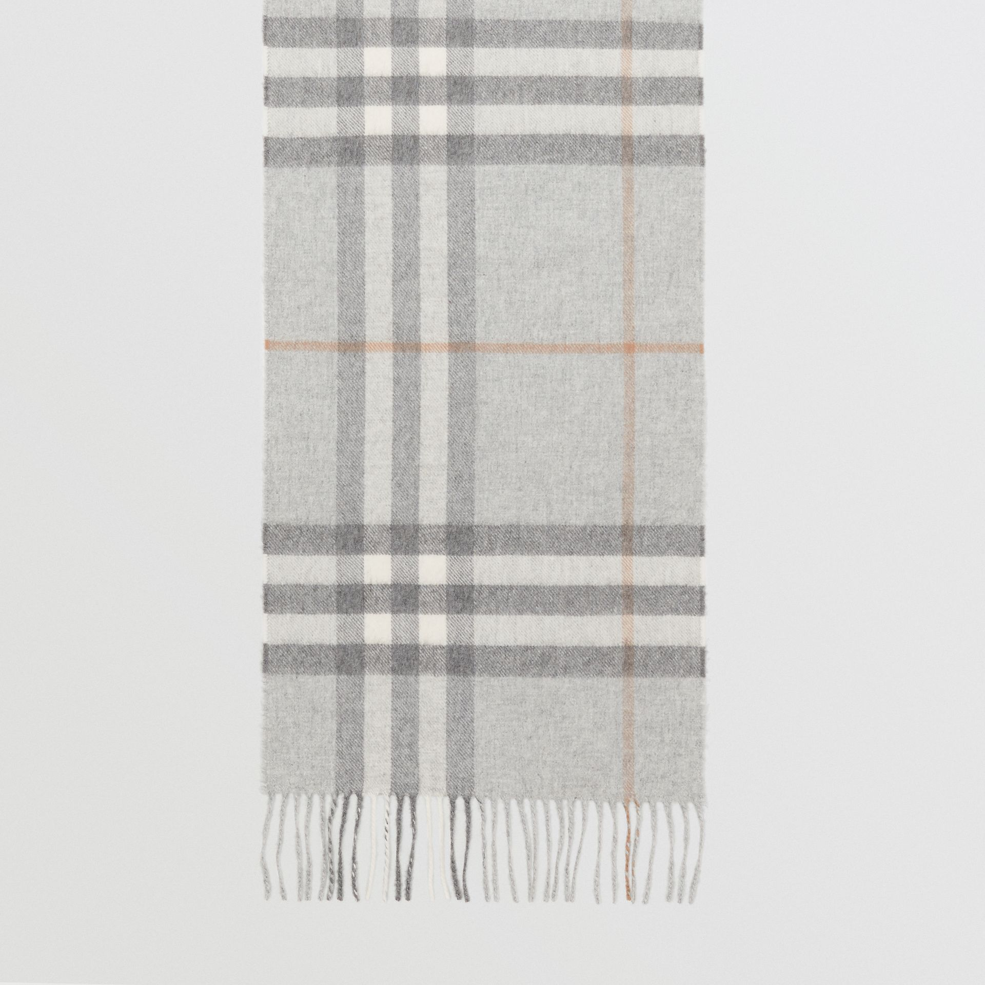 The Classic Check Cashmere Scarf in Light Grey | Burberry - gallery image 3