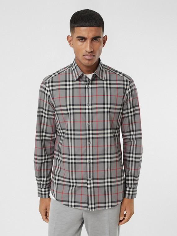 Check Cotton Poplin Shirt in Storm Grey Melange