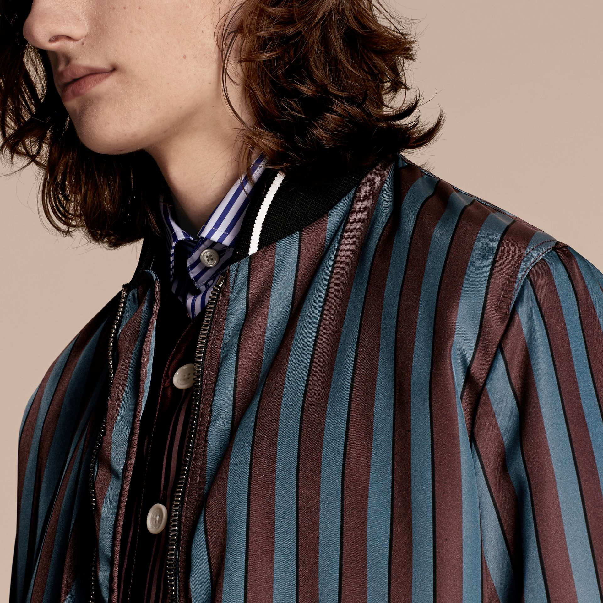 Navy Stripe Print Technical Bomber Jacket - gallery image 6
