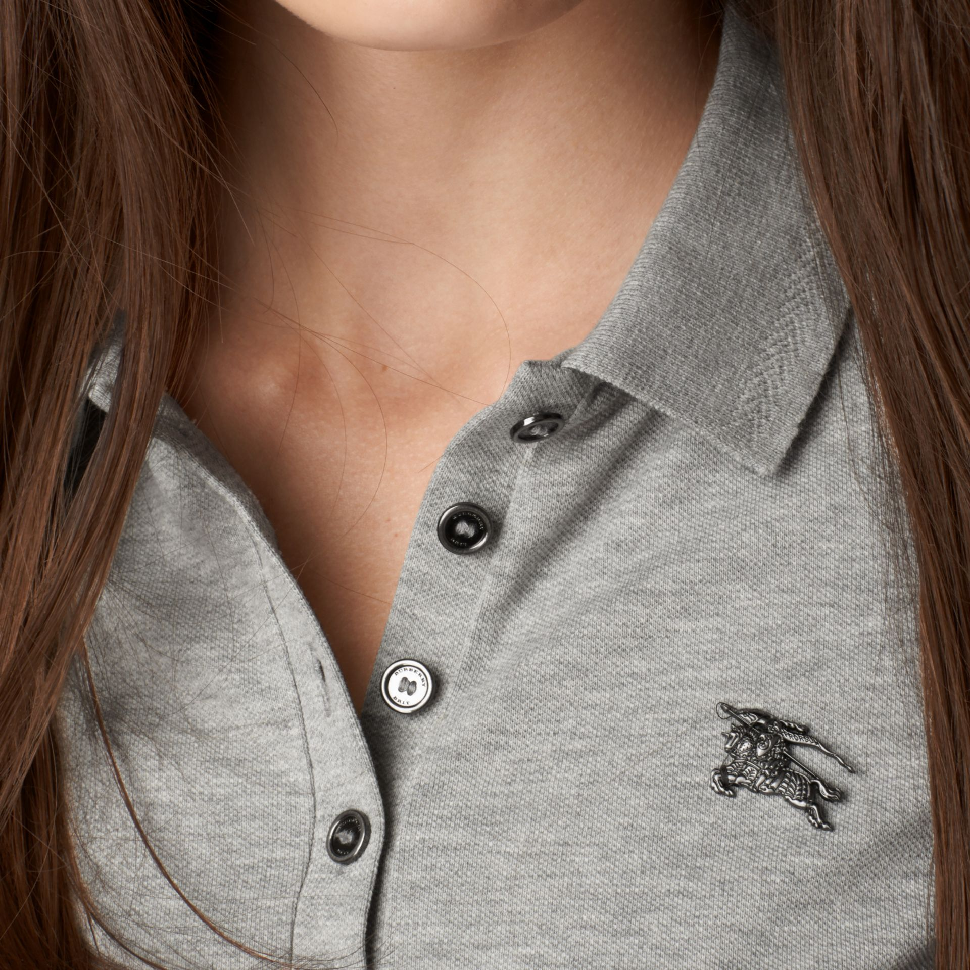 Cotton Piqué Polo Shirt Pale Grey Melange - gallery image 2