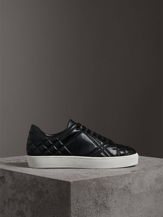 Check-quilted Leather Sneakers in Black