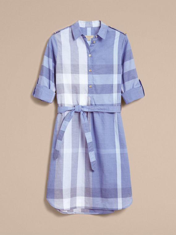 Tie-waist Check Cotton Shirt Dress - cell image 3