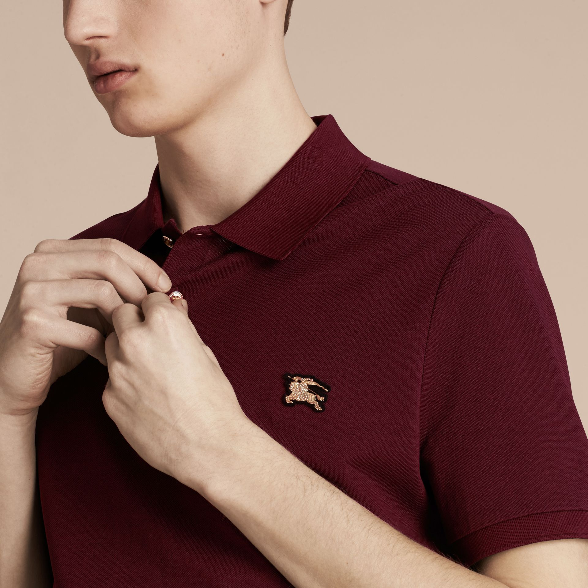 Cotton Piqué Polo Shirt in Burgundy Red - Men | Burberry - gallery image 5