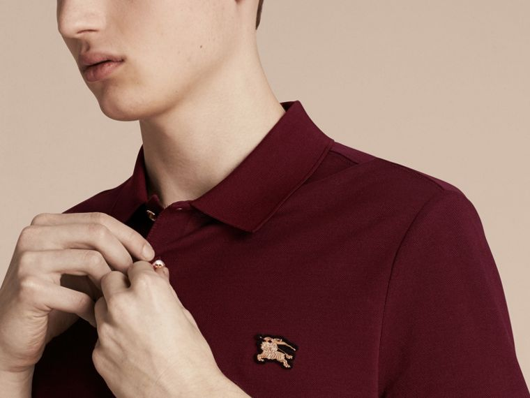 Burgundy red Fitted Mercerised Cotton-Piqué Polo Shirt Burgundy Red - cell image 4