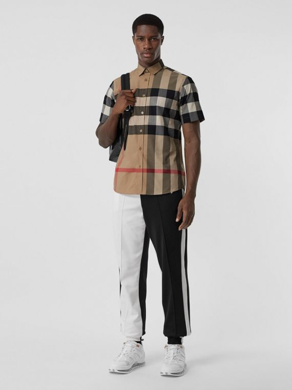 Short-sleeve Check Stretch Cotton Poplin Shirt in Archive Beige