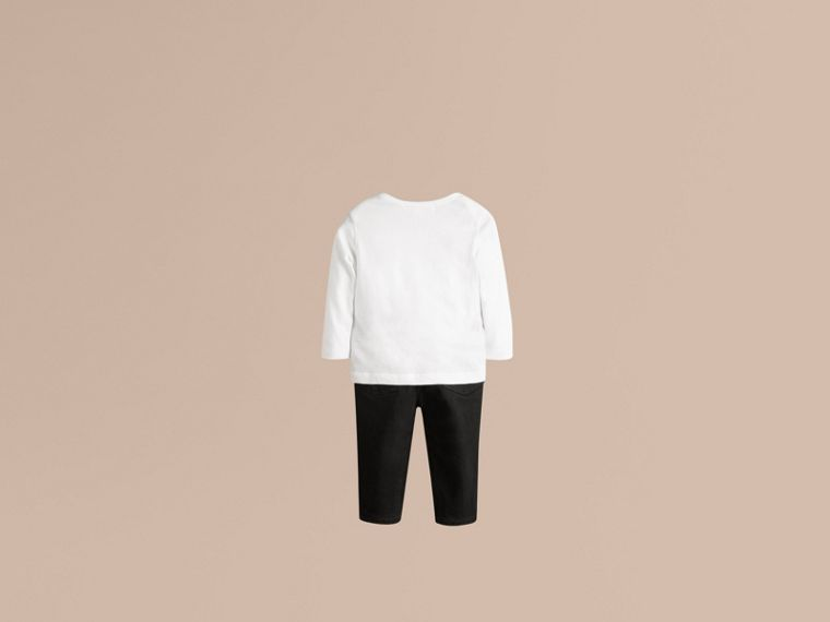 White Check Pocket Long Sleeve T-Shirt White - cell image 1