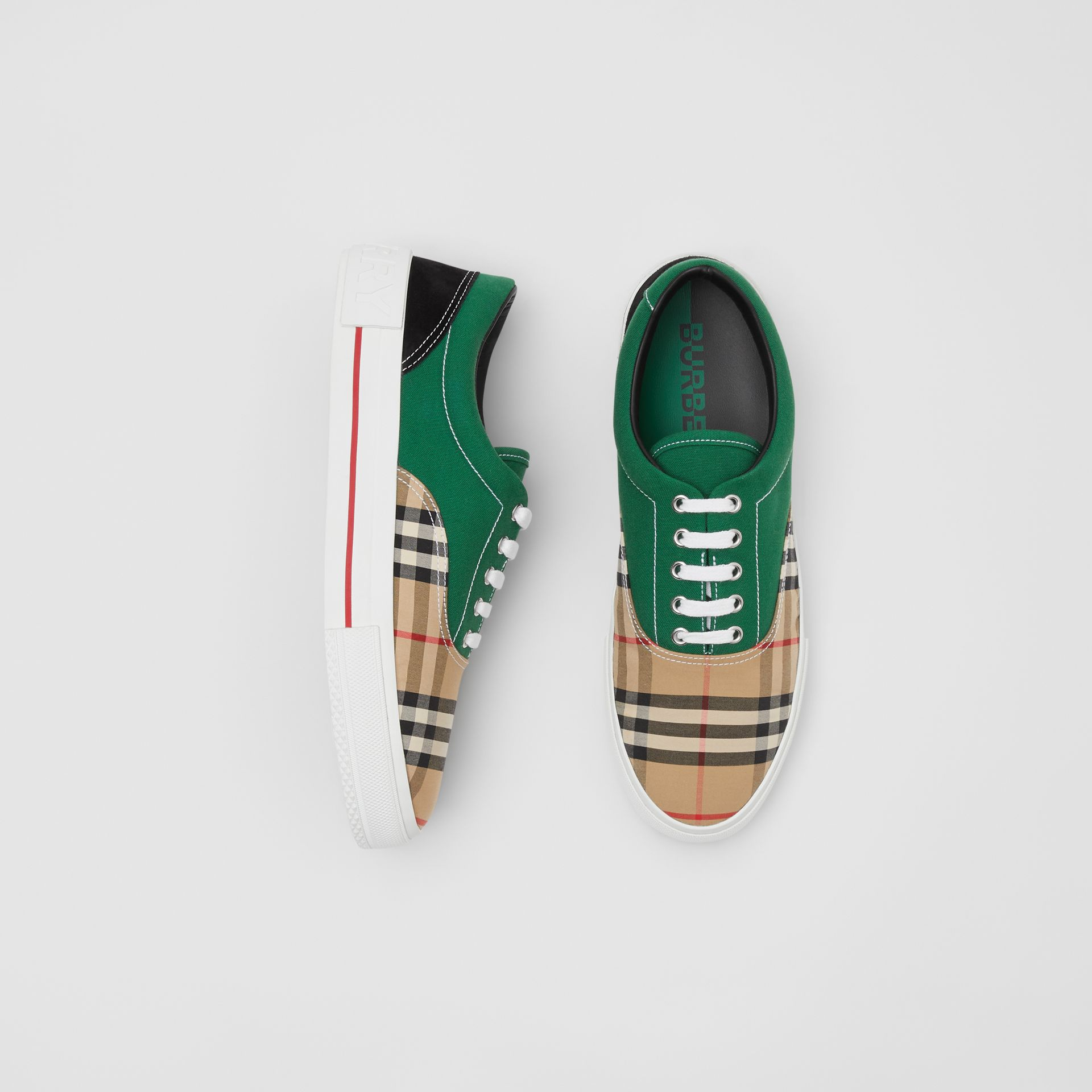 Vintage Check, Cotton Canvas and Suede Sneakers in Archive Beige/green - Men | Burberry - gallery image 0