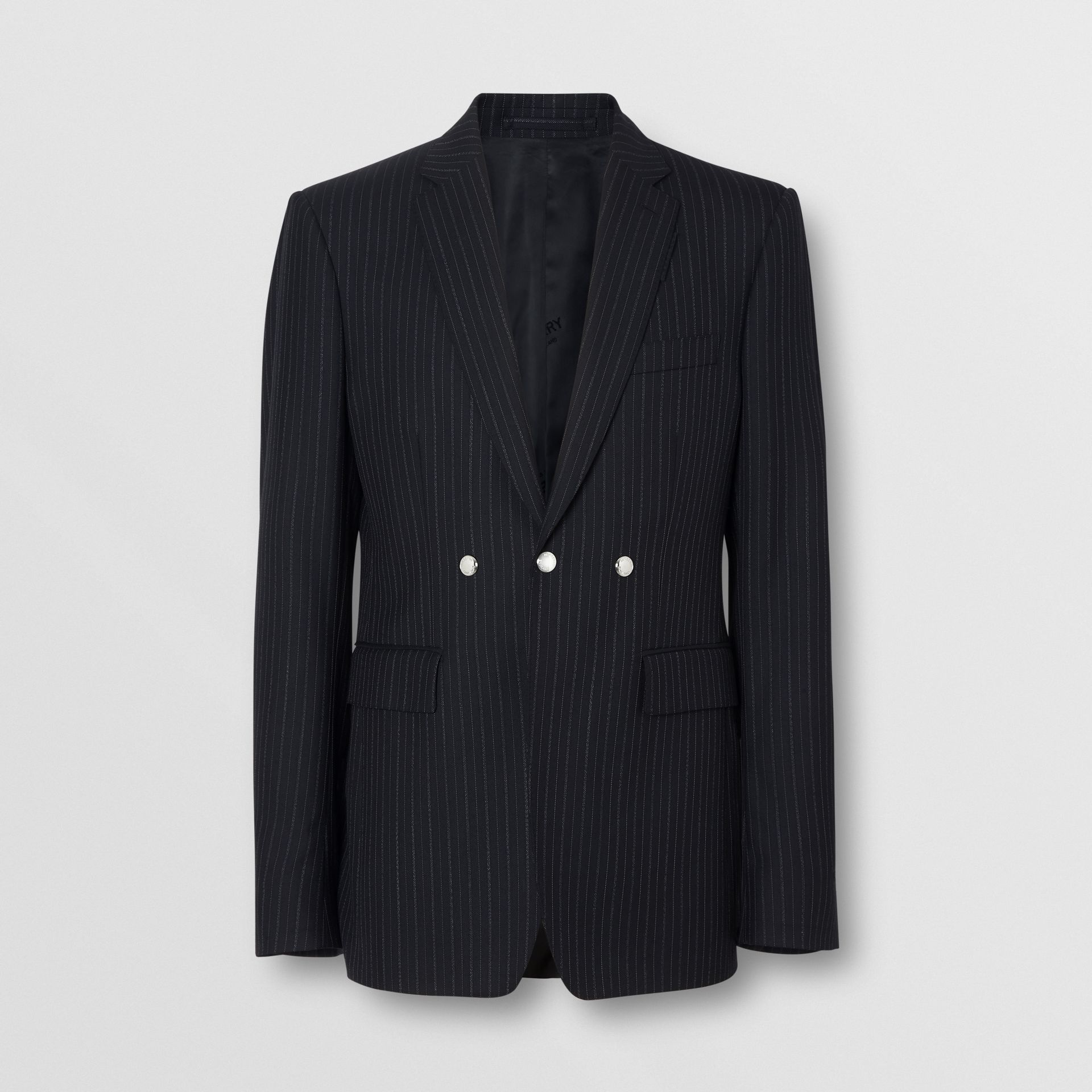 English Fit Triple Stud Pinstriped Wool Tailored Jacket in Black - Men | Burberry - gallery image 3