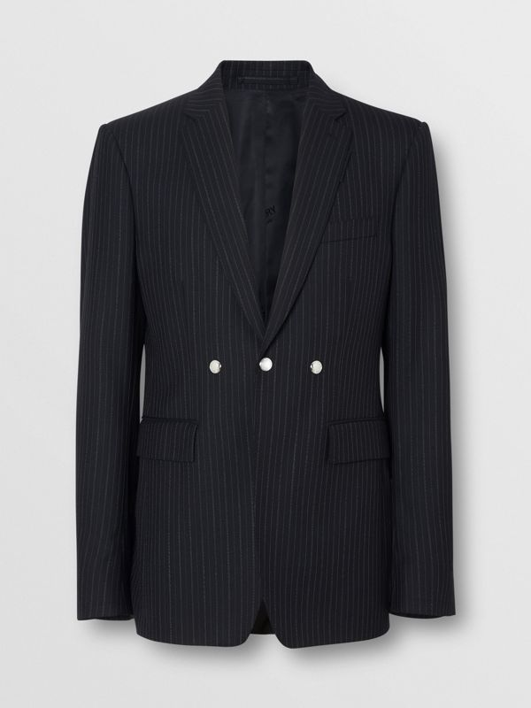 English Fit Triple Stud Pinstriped Wool Tailored Jacket in Black - Men | Burberry Canada - cell image 3