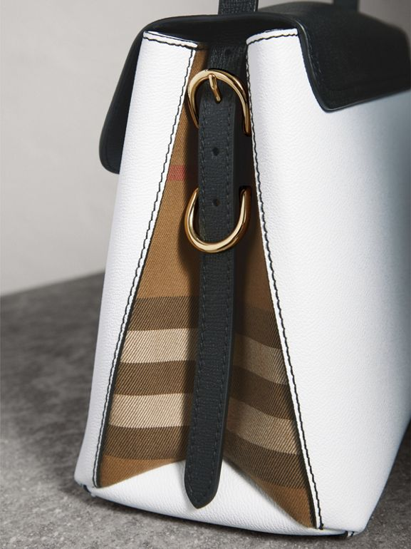 Medium Two-tone Leather and House Check Tote in Chalk White/black - Women | Burberry Singapore - cell image 1