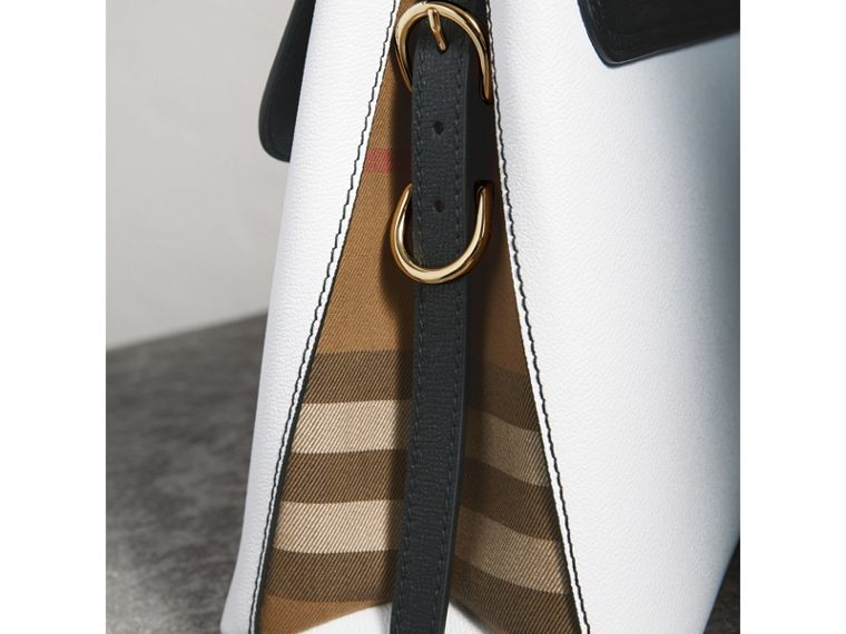 Medium Two-tone Leather and House Check Tote in Chalk White/black - Women | Burberry United Kingdom - cell image 1