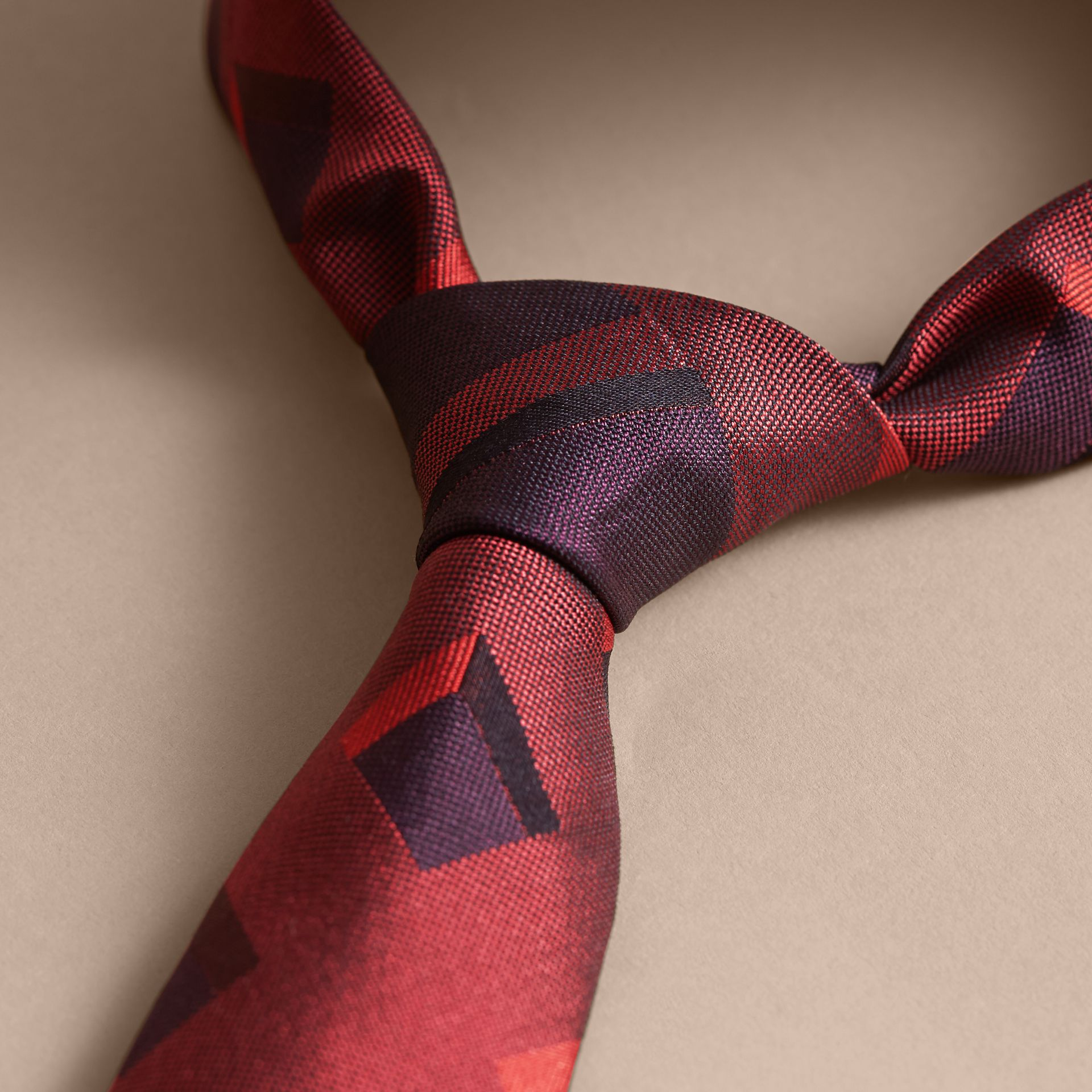 Modern Cut Check Jacquard Silk Tie Military Red - gallery image 2