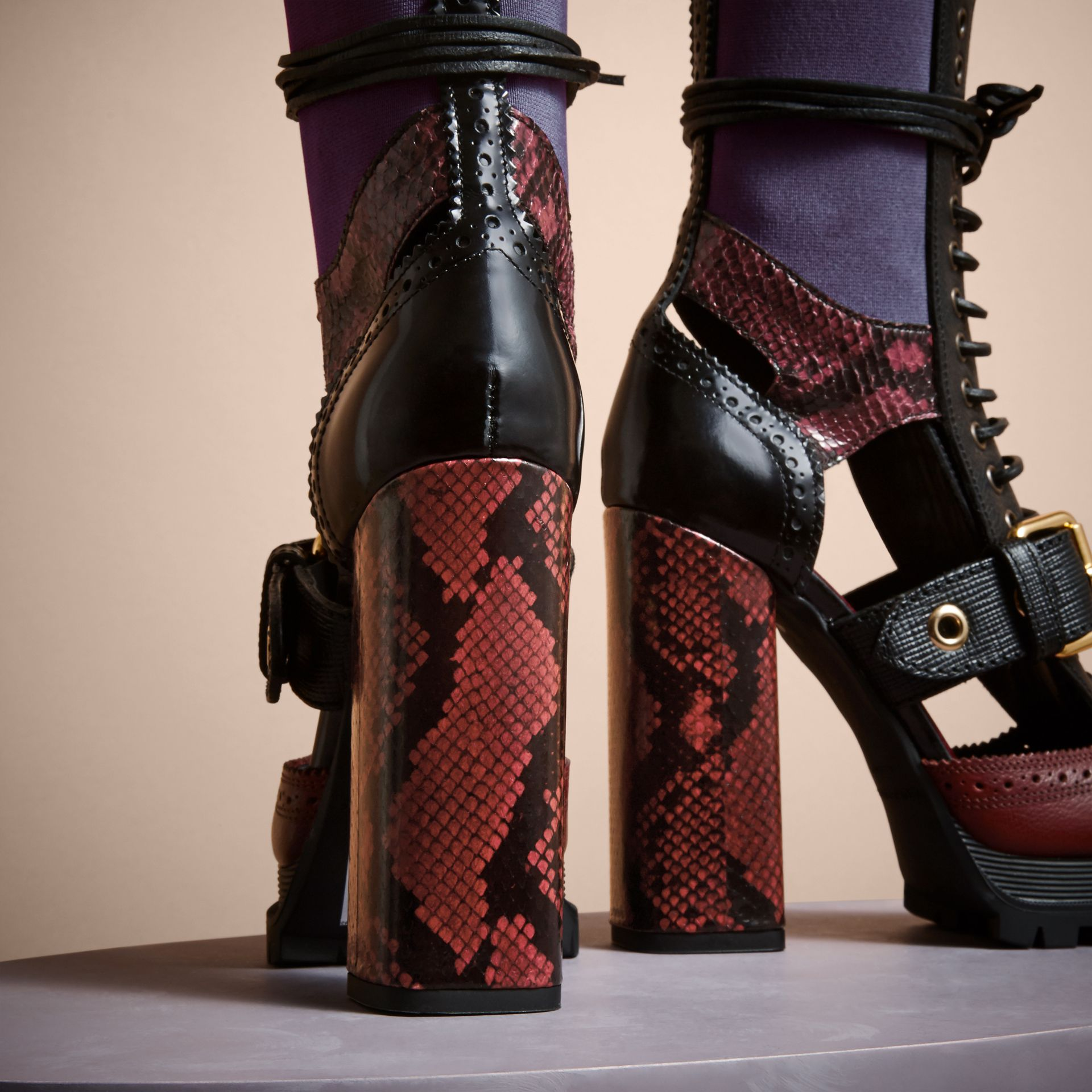 Leather and Snakeskin Cut-out Platform Boots Garnet Pink - gallery image 4
