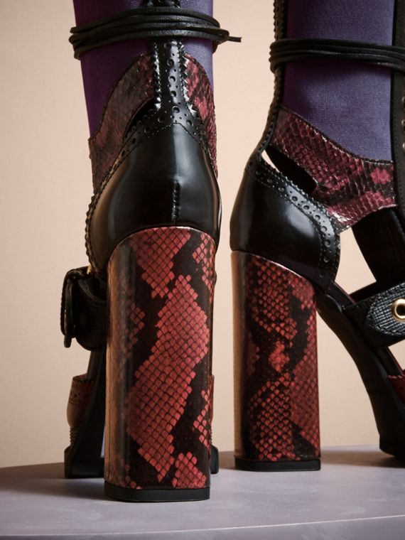 Leather and Snakeskin Cut-out Platform Boots Garnet Pink - cell image 3