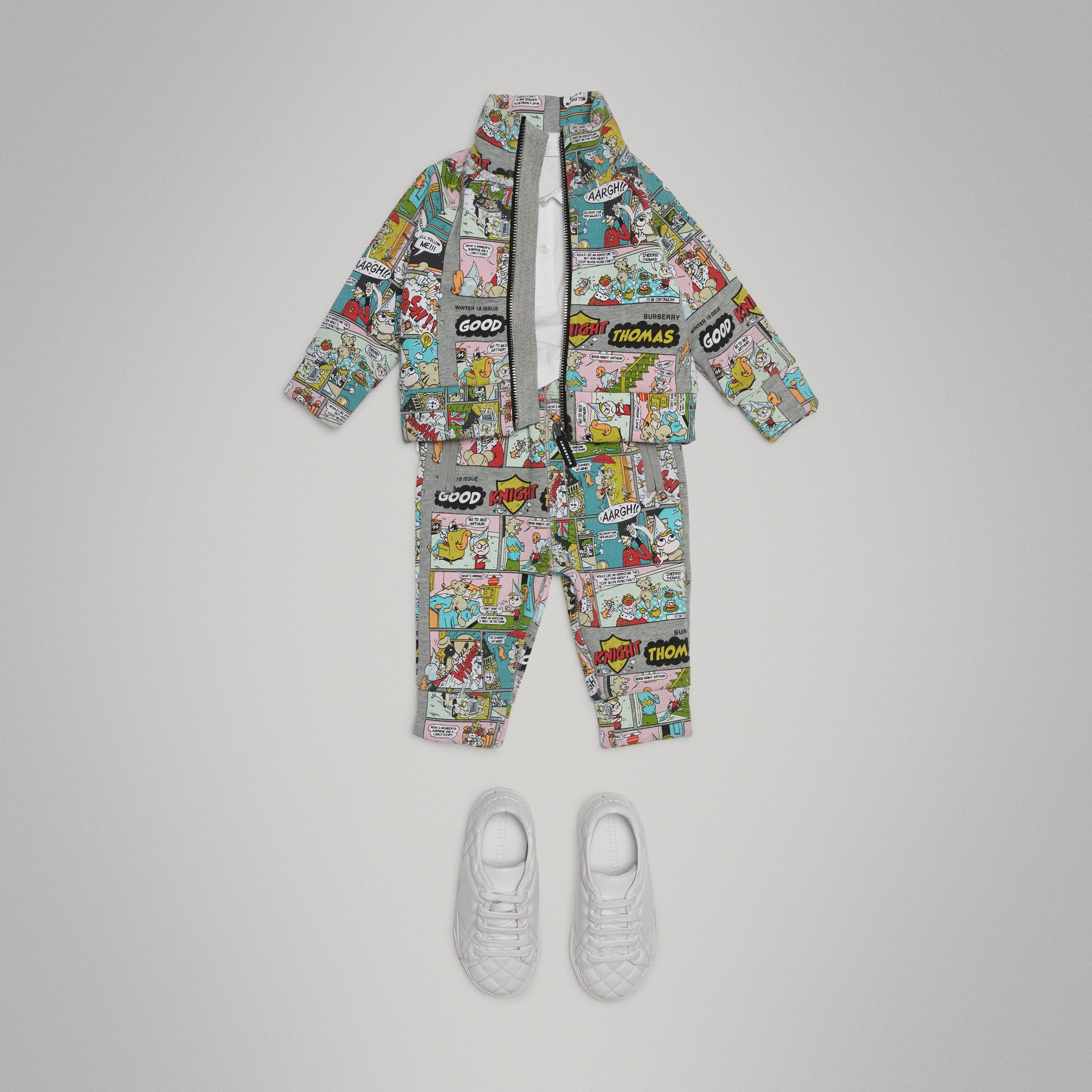 Comic Strip Print Cotton Track Top in Miscellaneous - Children | Burberry Hong Kong - gallery image 2