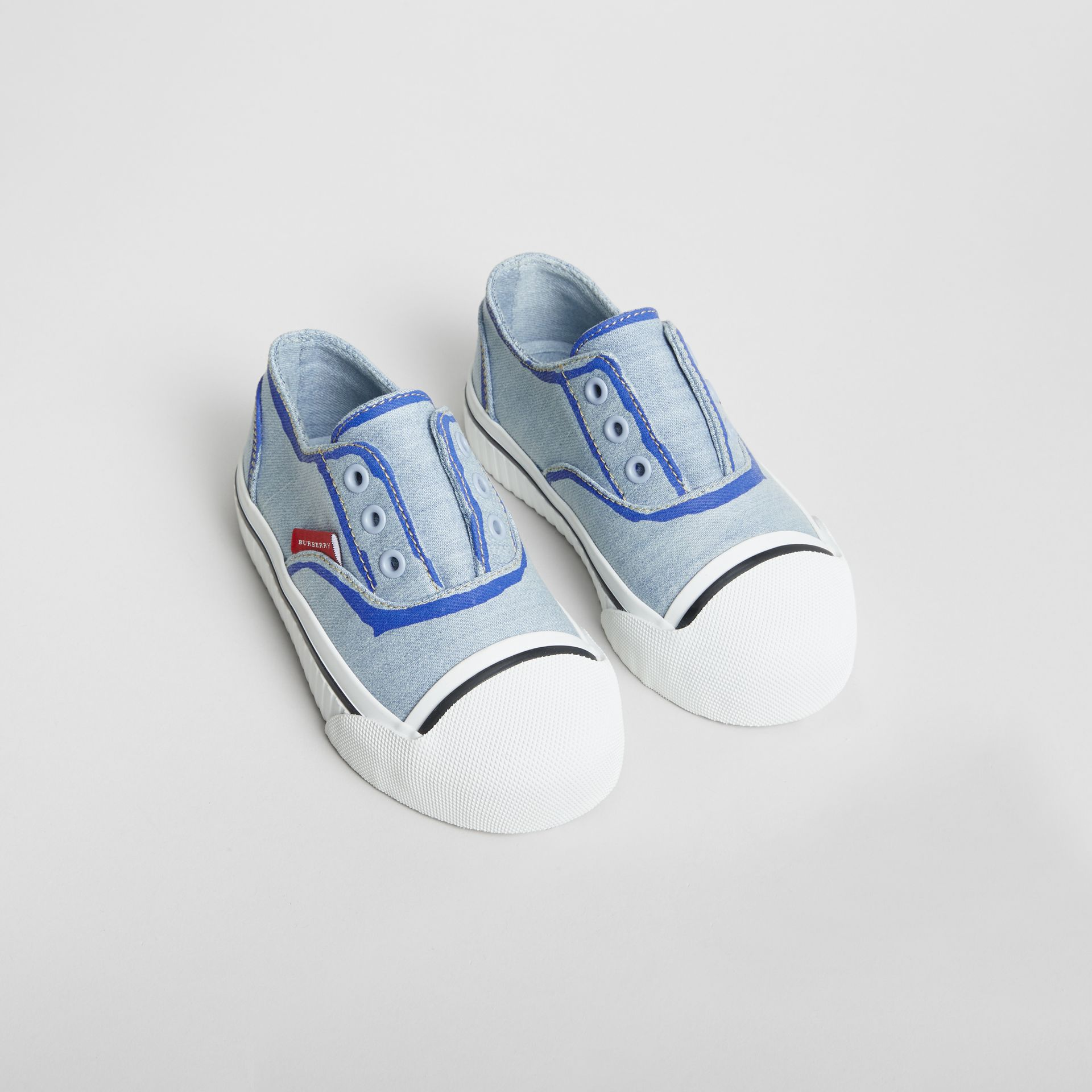 Scribble Print Slip-on Sneakers in Light Blue | Burberry - gallery image 0